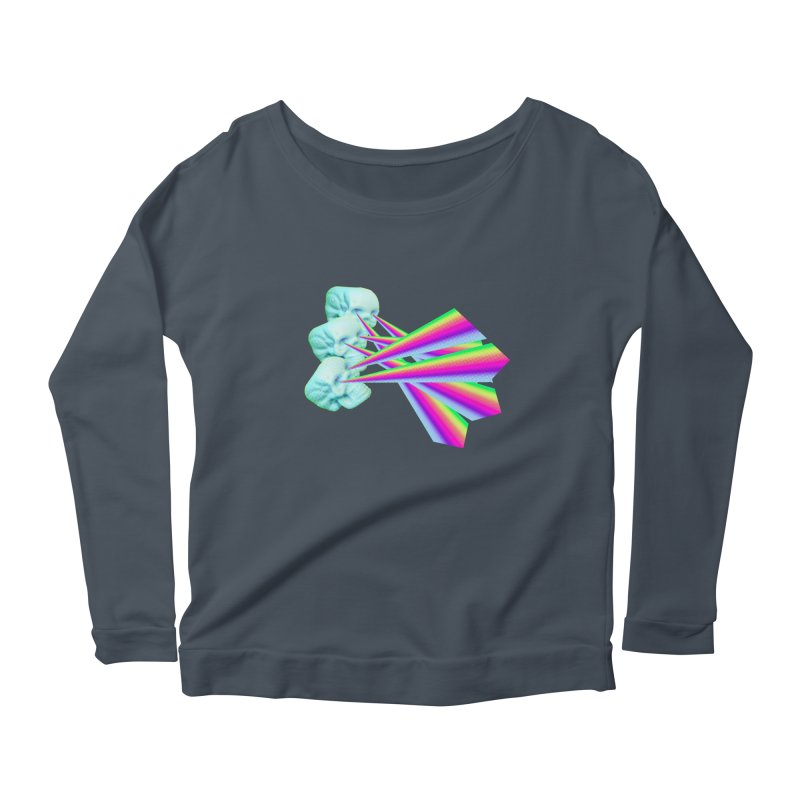 Rainbow Skull Women's Scoop Neck Longsleeve T-Shirt by Turkeylegsray's Artist Shop