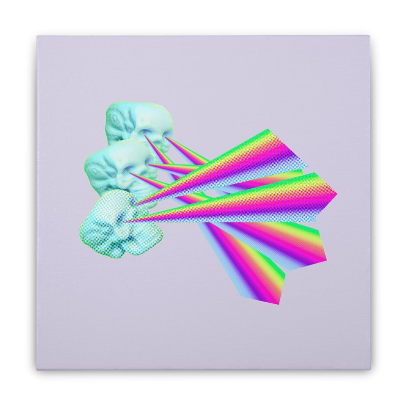 Rainbow Skull Home Stretched Canvas by Turkeylegsray's Artist Shop