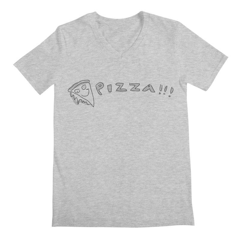 PIZZA!!! Men's Regular V-Neck by Turkeylegsray's Artist Shop
