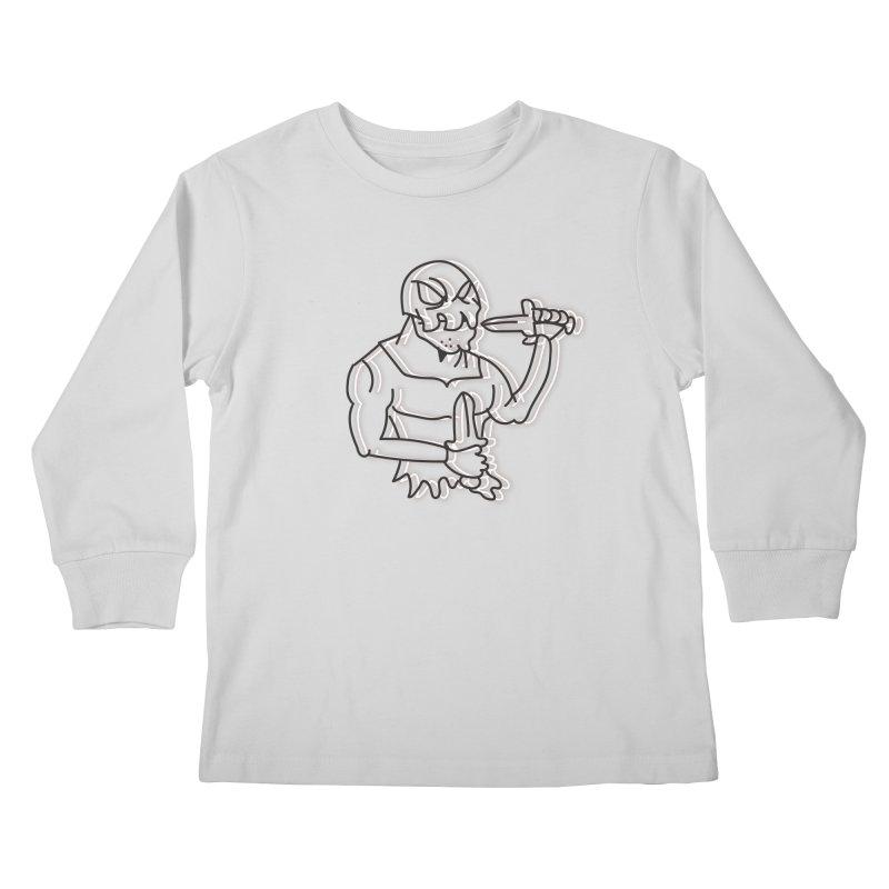 Skull Man Kids Longsleeve T-Shirt by Turkeylegsray's Artist Shop