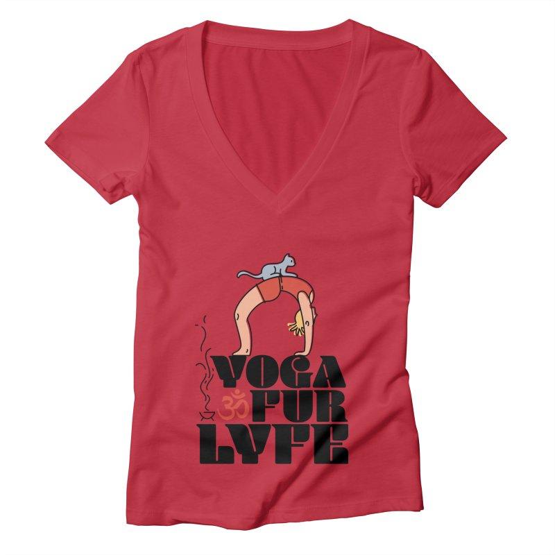 CAT YOGA Women's Deep V-Neck V-Neck by Turkeylegsray's Artist Shop