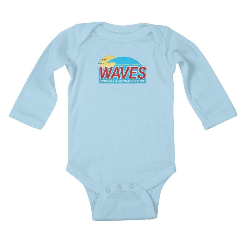 WAVES Kids Baby Longsleeve Bodysuit by Turkeylegsray's Artist Shop