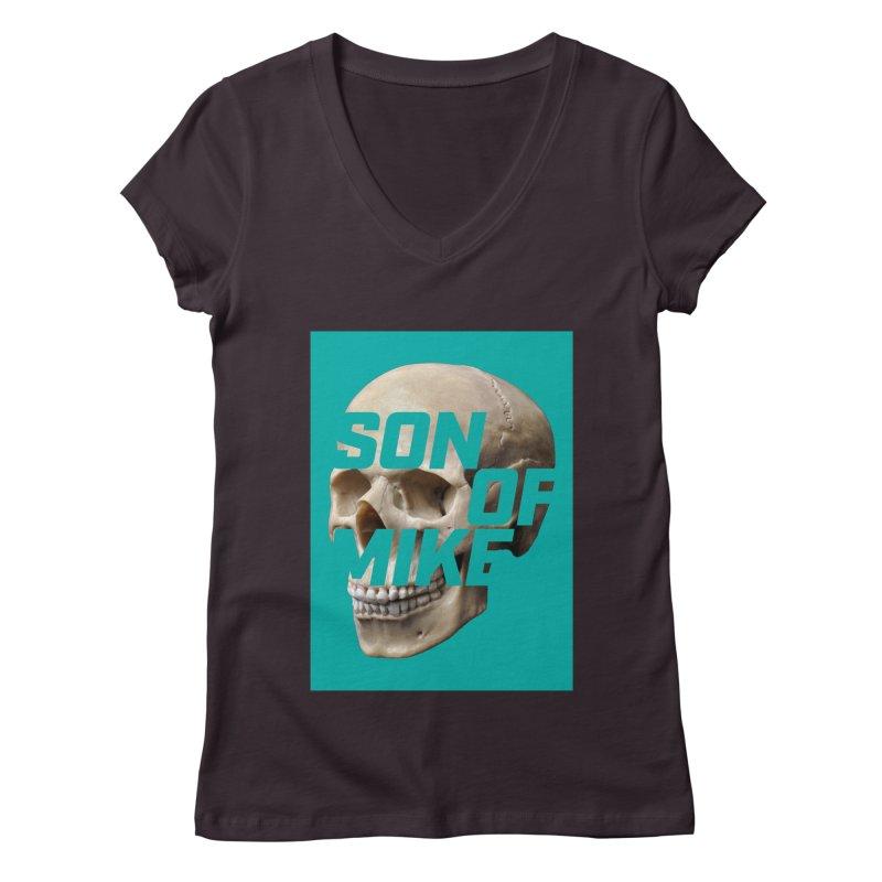 "SON OF MIKE ""Mint Skull"" Women's Regular V-Neck by Turkeylegsray's Artist Shop"