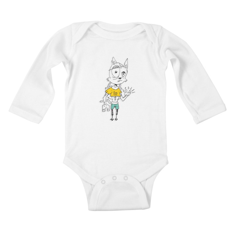 Wolf Guy Kids Baby Longsleeve Bodysuit by Turkeylegsray's Artist Shop