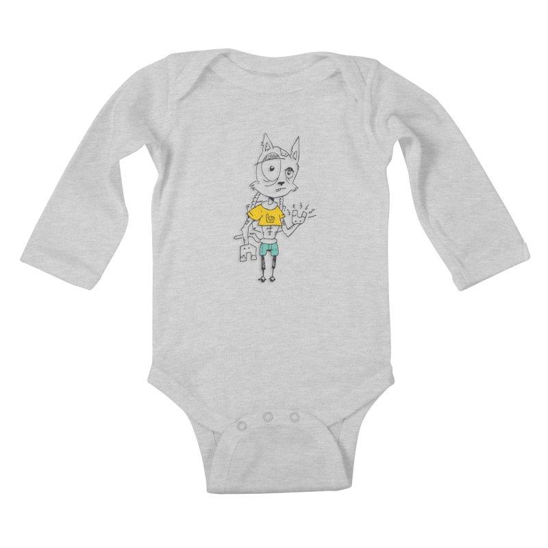 Wolf Guy Kids Baby Longsleeve Bodysuit by Turkeylegsray's Artist Shop