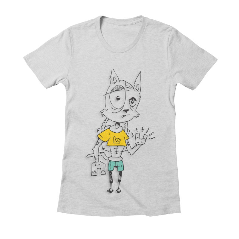 Wolf Guy Women's Fitted T-Shirt by Turkeylegsray's Artist Shop