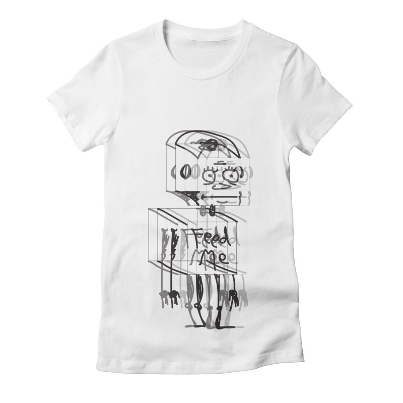 Doodle Bot Women's Fitted T-Shirt by Turkeylegsray's Artist Shop