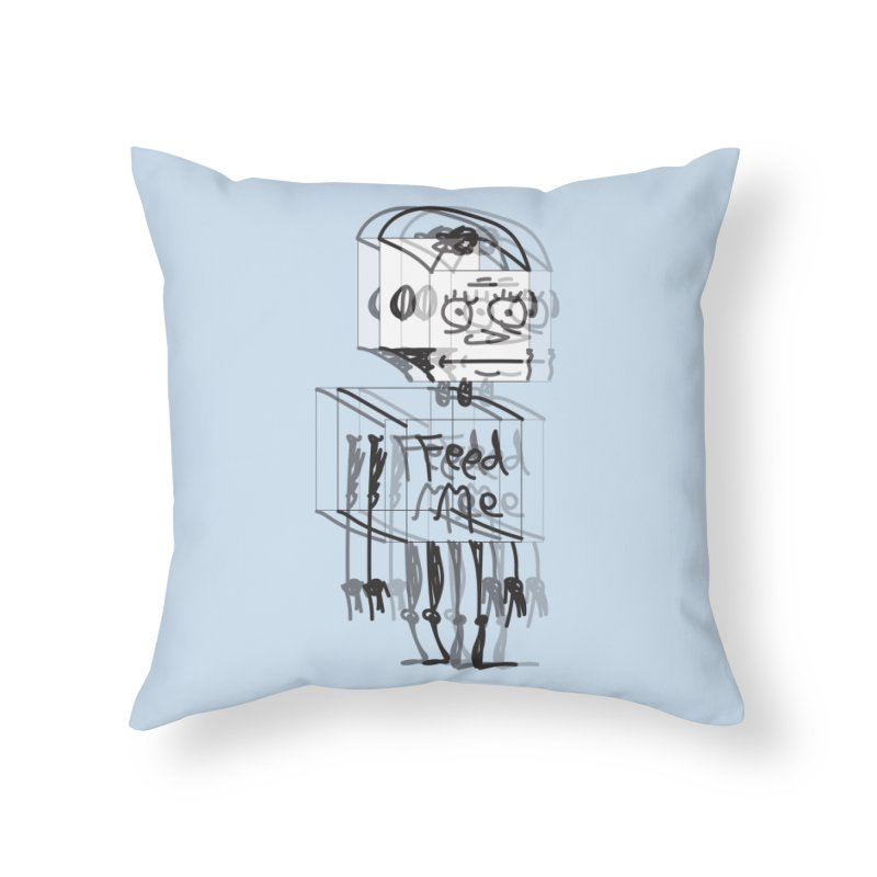 Doodle Bot Home Throw Pillow by Turkeylegsray's Artist Shop