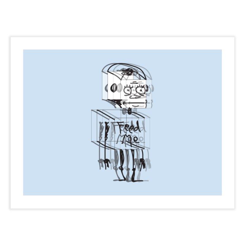 Doodle Bot Home Fine Art Print by Turkeylegsray's Artist Shop
