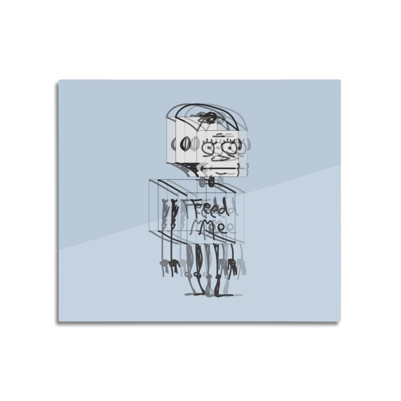 Doodle Bot Home Mounted Aluminum Print by Turkeylegsray's Artist Shop