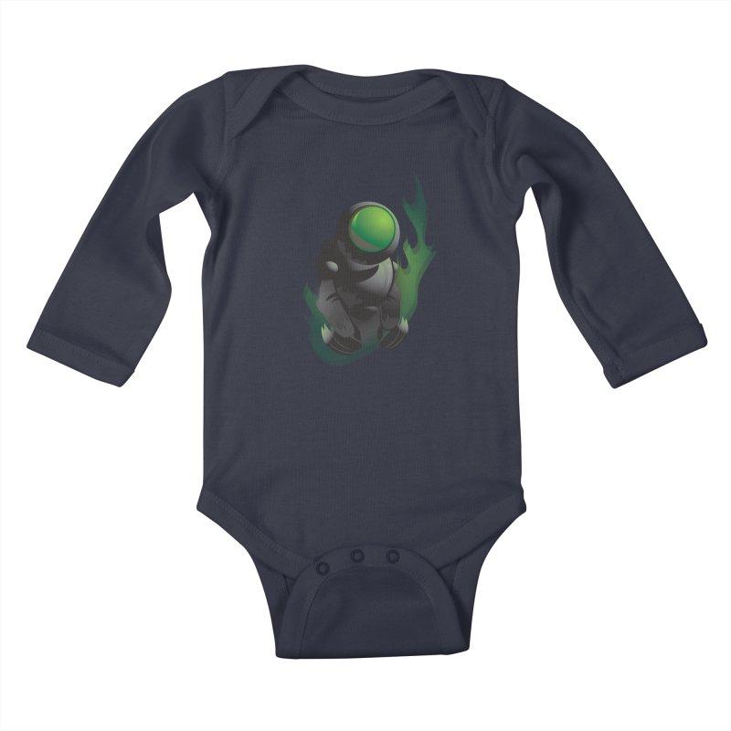 Green Robot Kids Baby Longsleeve Bodysuit by Turkeylegsray's Artist Shop
