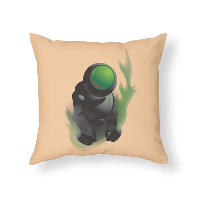 Green Robot Home Throw Pillow by Turkeylegsray's Artist Shop