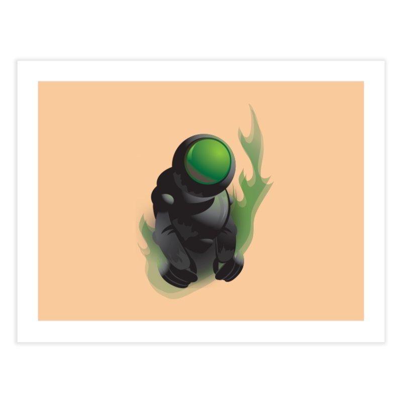 Green Robot Home Fine Art Print by Turkeylegsray's Artist Shop