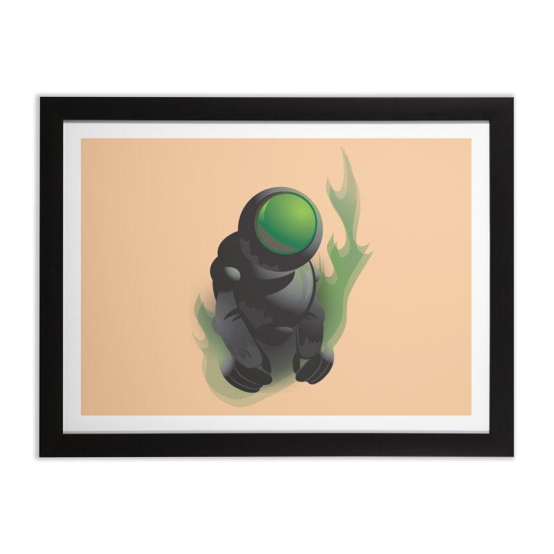 Green Robot Home Framed Fine Art Print by Turkeylegsray's Artist Shop