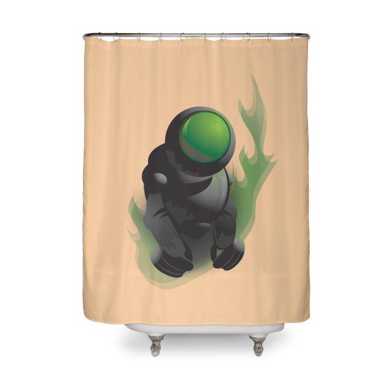 Green Robot Home Shower Curtain by Turkeylegsray's Artist Shop