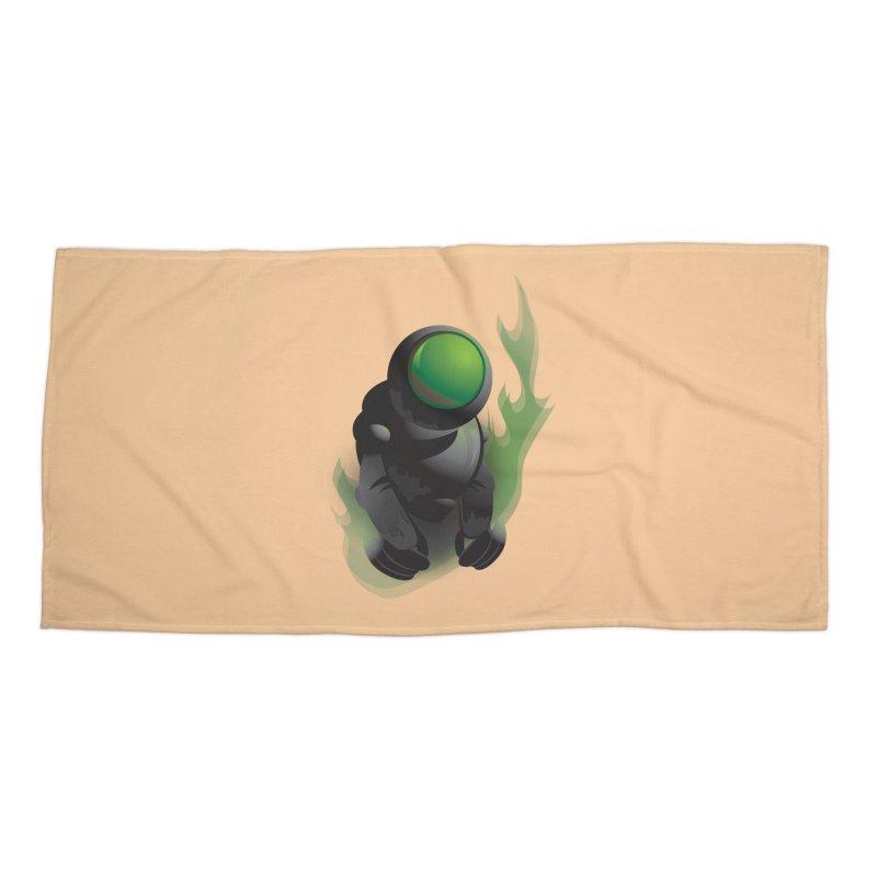 Green Robot Accessories Beach Towel by Turkeylegsray's Artist Shop