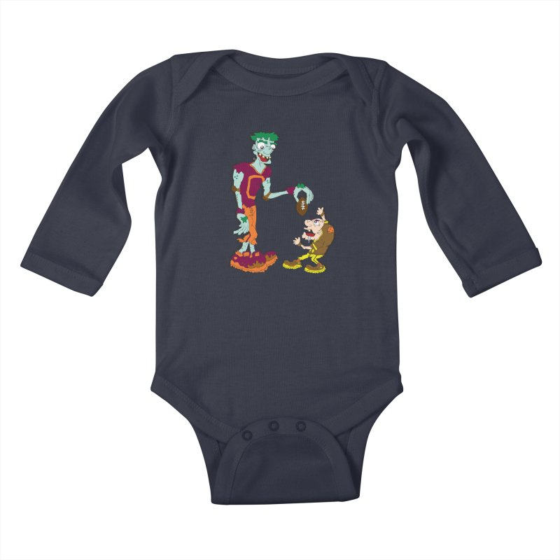 Monster Football Kids Baby Longsleeve Bodysuit by Turkeylegsray's Artist Shop