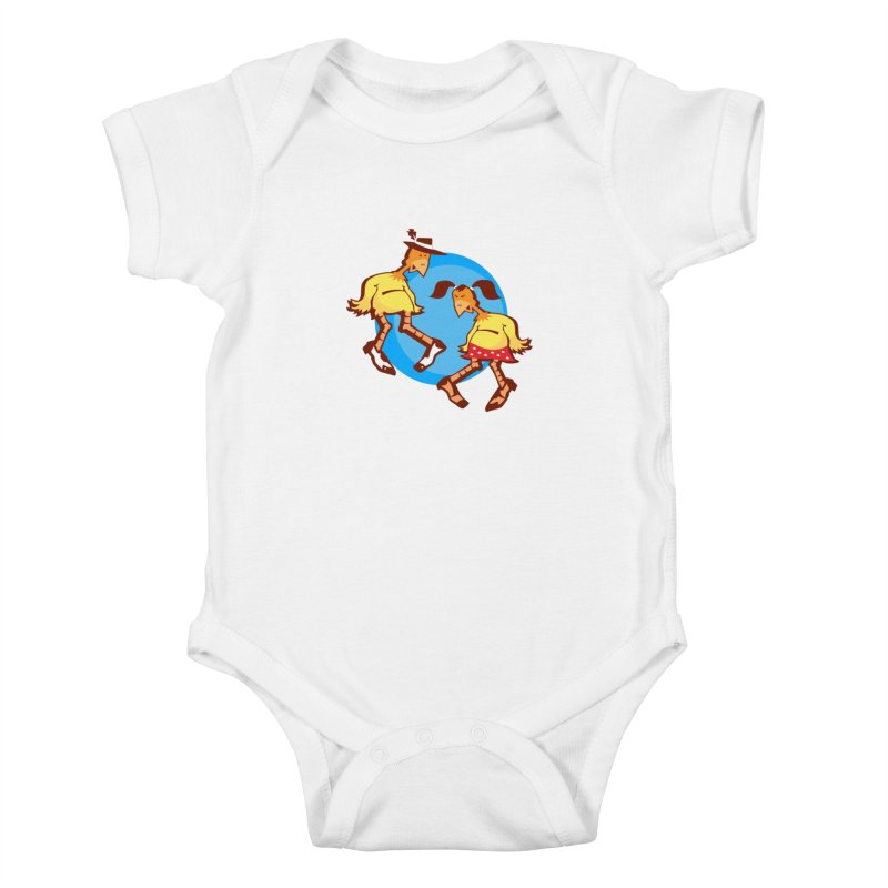 Dancing Chickens Kids Baby Bodysuit by Turkeylegsray's Artist Shop