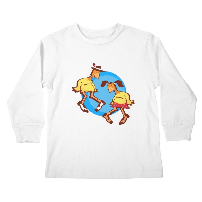 Dancing Chickens Kids Longsleeve T-Shirt by Turkeylegsray's Artist Shop