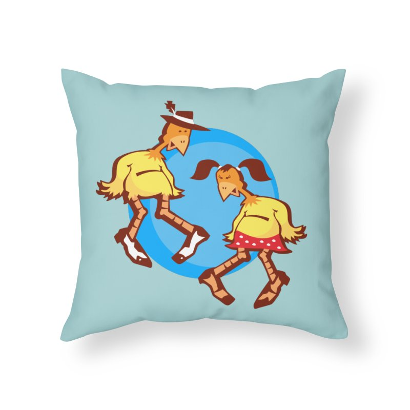 Dancing Chickens Home Throw Pillow by Turkeylegsray's Artist Shop