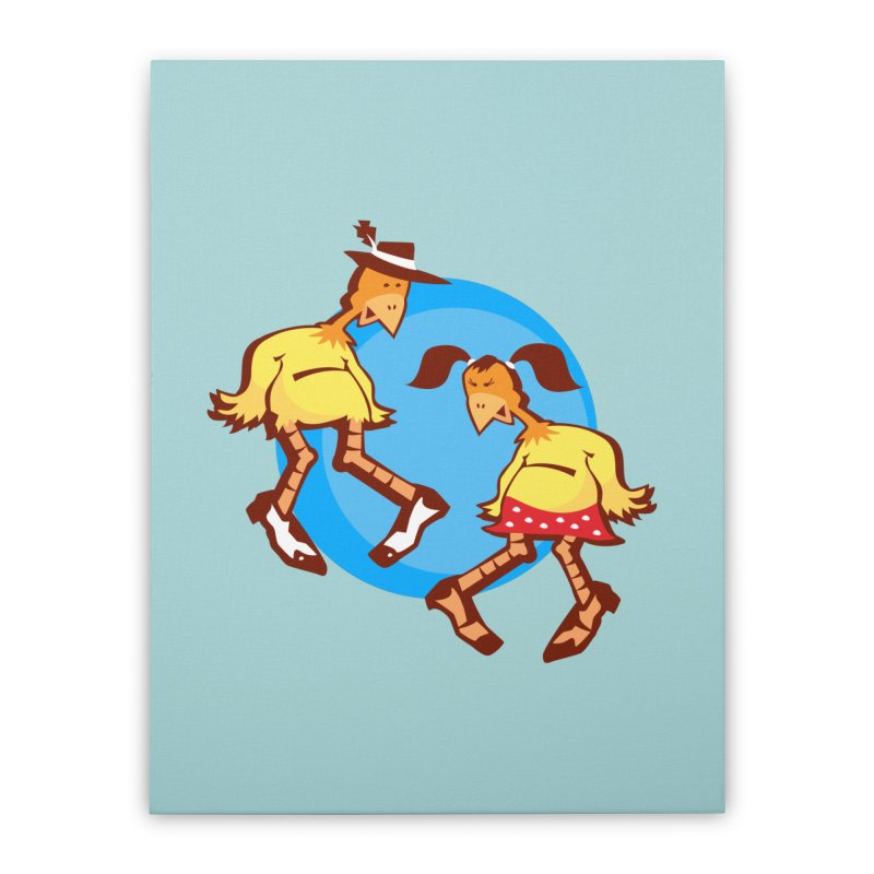 Dancing Chickens Home Stretched Canvas by Turkeylegsray's Artist Shop
