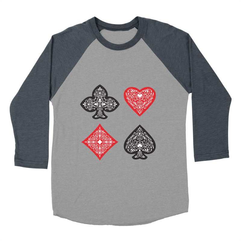 Playing Card Suits Men's Baseball Triblend T-Shirt by Turkeylegsray's Artist Shop