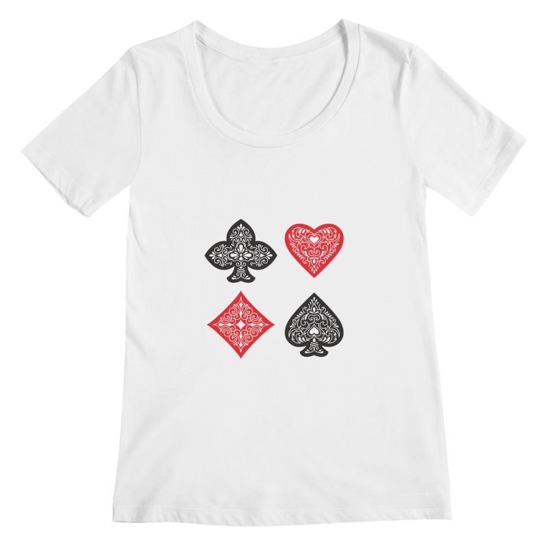 Playing Card Suits Women's Scoopneck by Turkeylegsray's Artist Shop