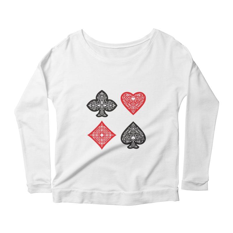 Playing Card Suits Women's Longsleeve Scoopneck  by Turkeylegsray's Artist Shop