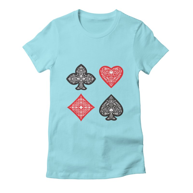 Playing Card Suits Women's Fitted T-Shirt by Turkeylegsray's Artist Shop