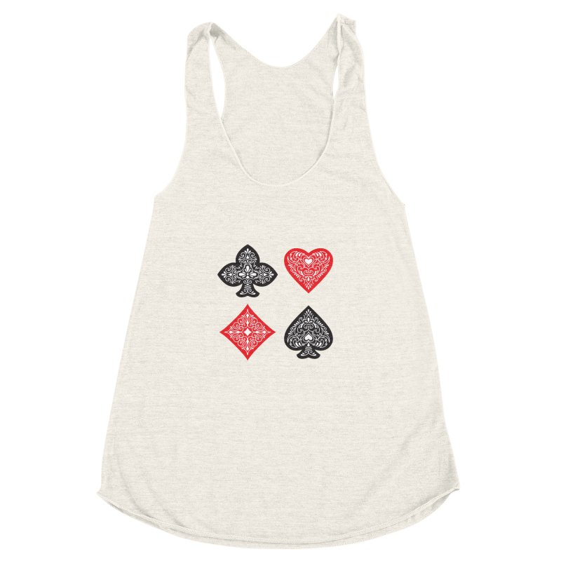 Playing Card Suits Women's Racerback Triblend Tank by Turkeylegsray's Artist Shop