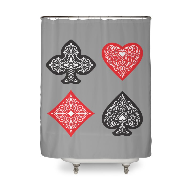 Playing Card Suits Home Shower Curtain by Turkeylegsray's Artist Shop