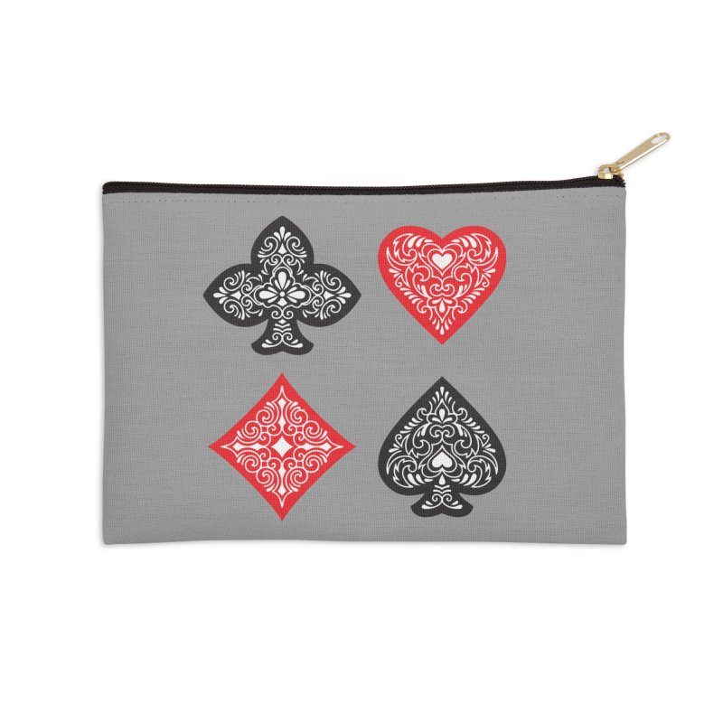 Playing Card Suits Accessories Zip Pouch by Turkeylegsray's Artist Shop