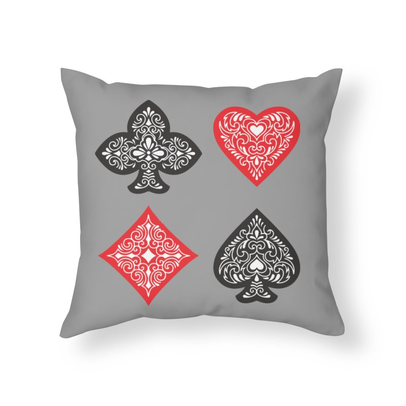 Playing Card Suits Home Throw Pillow by Turkeylegsray's Artist Shop