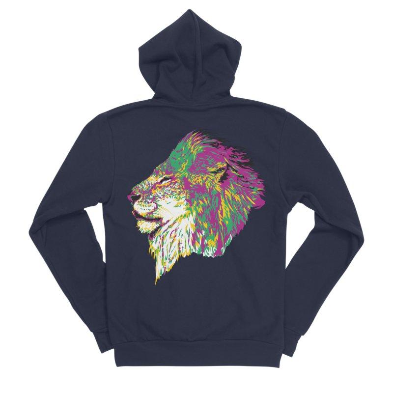 Zoological Appreciation Series: Lion Men's Sponge Fleece Zip-Up Hoody by Twelve45 Store