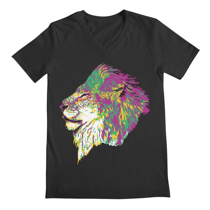 Zoological Appreciation Series: Lion Men's Regular V-Neck by Twelve45 Store