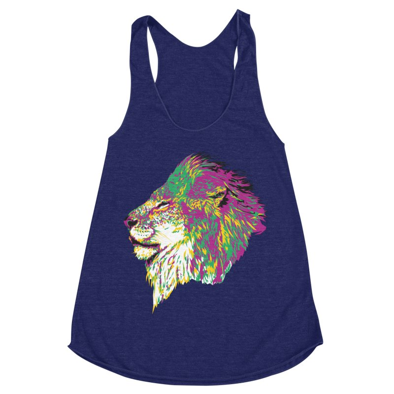 Zoological Appreciation Series: Lion Women's Racerback Triblend Tank by Twelve45 Store