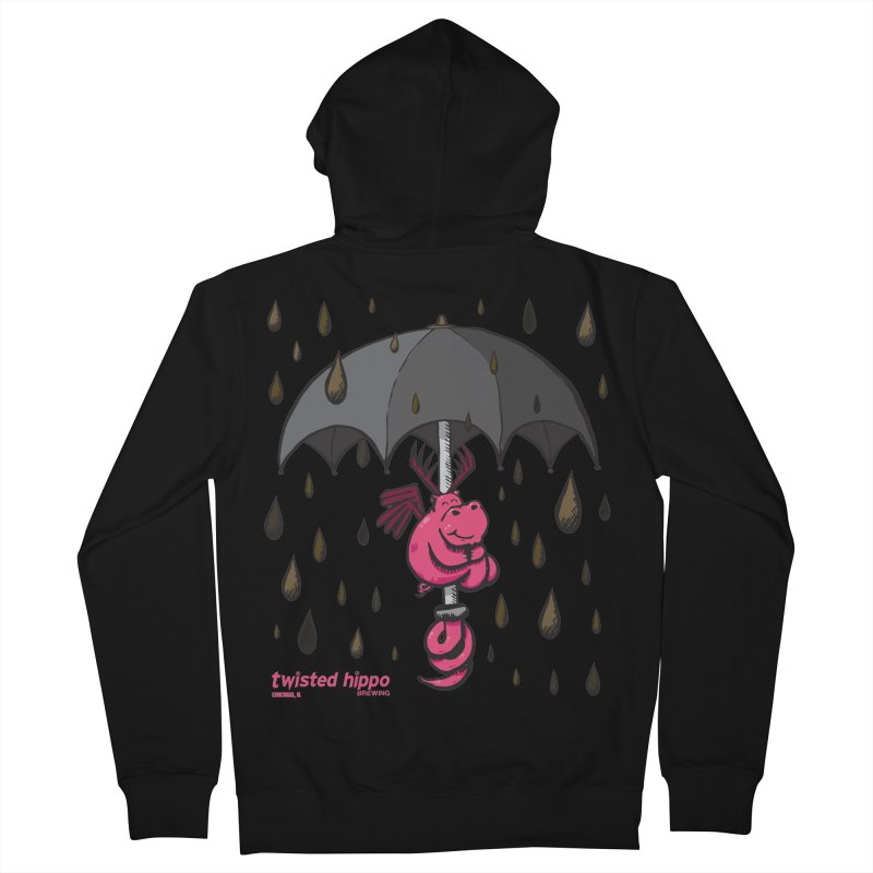 Black Umbrella Men's French Terry Zip-Up Hoody by Twisted Hippo Brewing