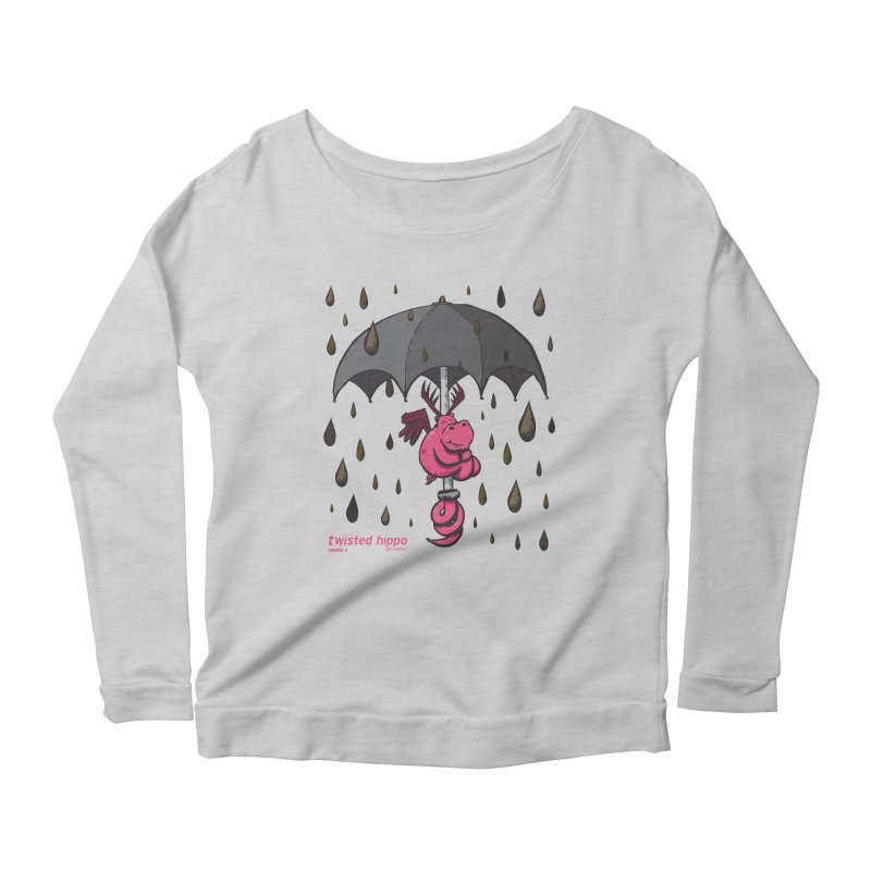 Black Umbrella Women's Scoop Neck Longsleeve T-Shirt by Twisted Hippo Brewing