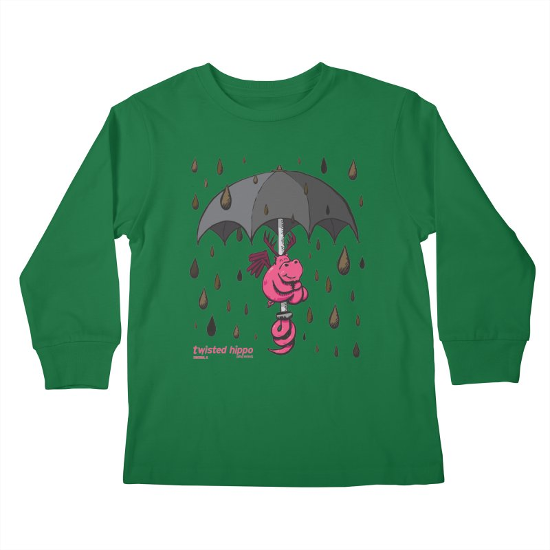 Black Umbrella Kids Longsleeve T-Shirt by Twisted Hippo Brewing