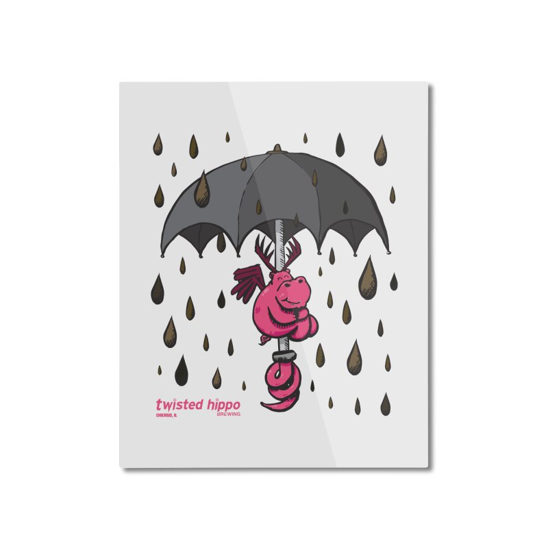 Black Umbrella Home Mounted Aluminum Print by Twisted Hippo Brewing