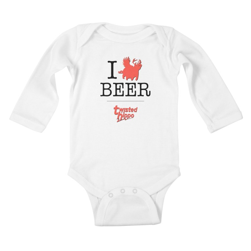 I Hippo Beer Kids Baby Longsleeve Bodysuit by Twisted Hippo Brewing