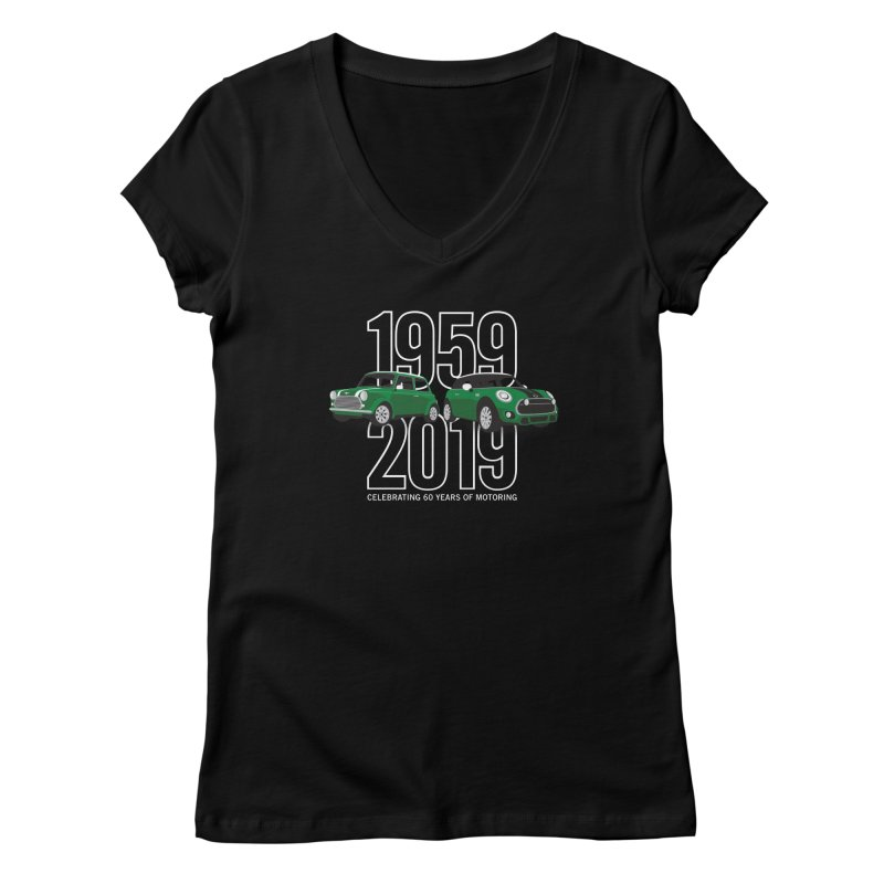 MINI 60th Anniversary Women's Regular V-Neck by TwistyMini Motoring Shirts