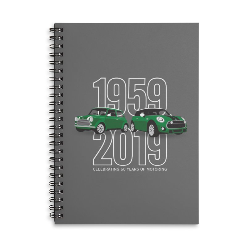 MINI 60th Anniversary Accessories Lined Spiral Notebook by TwistyMini Motoring Shirts