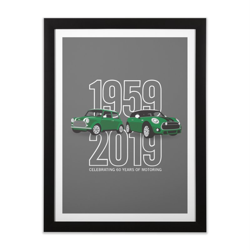 MINI 60th Anniversary Home Framed Fine Art Print by TwistyMini Motoring Shirts