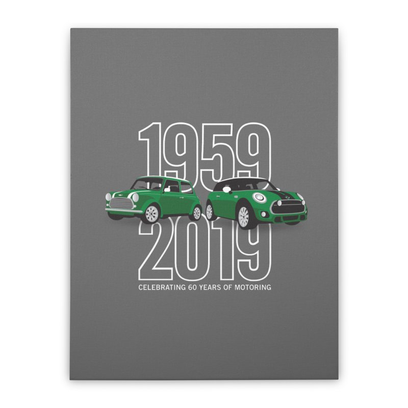 MINI 60th Anniversary Home Stretched Canvas by TwistyMini Motoring Shirts