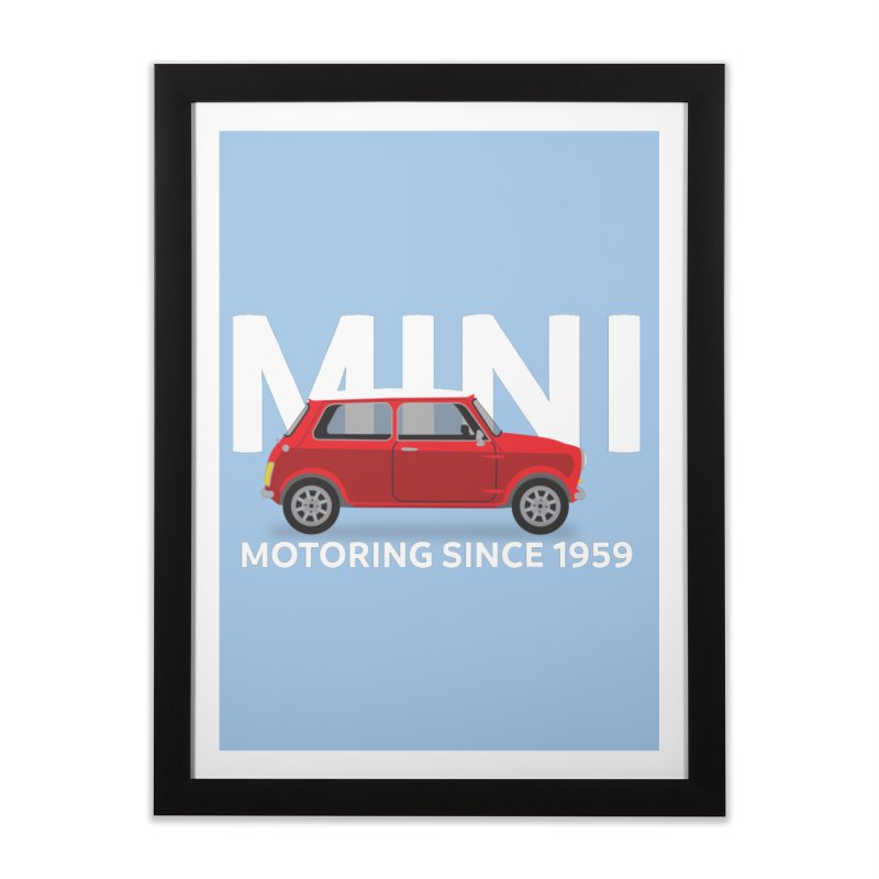Classic Mini Home Framed Fine Art Print by TwistyMini Motoring Shirts