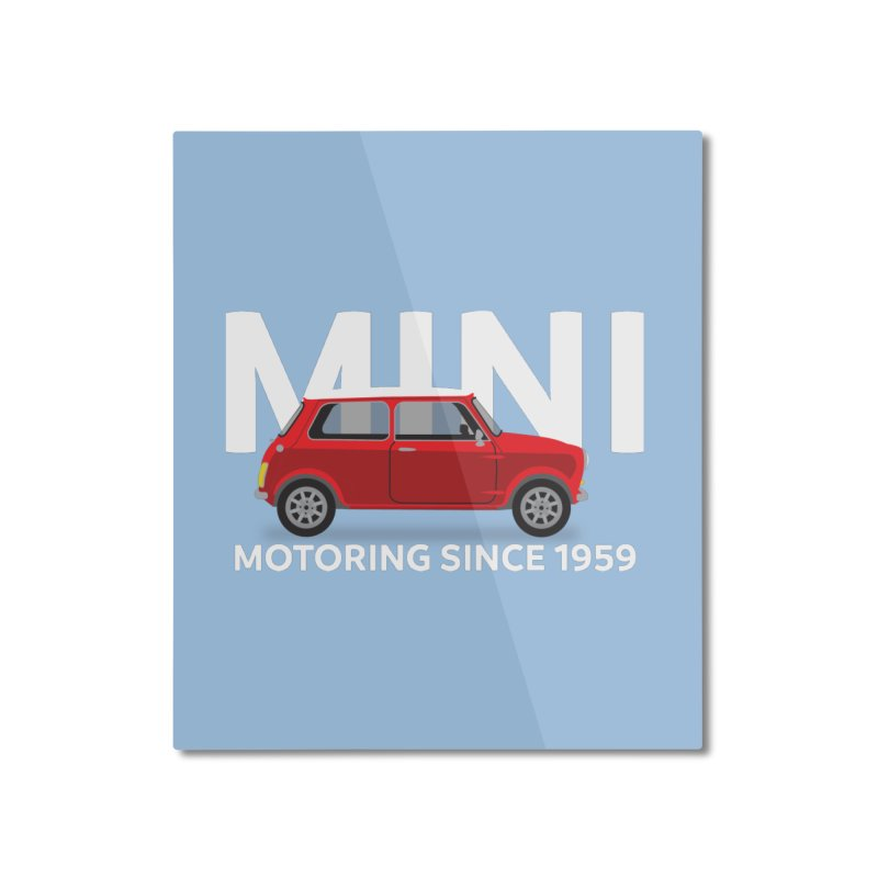 Classic Mini Home Mounted Aluminum Print by TwistyMini Motoring Shirts