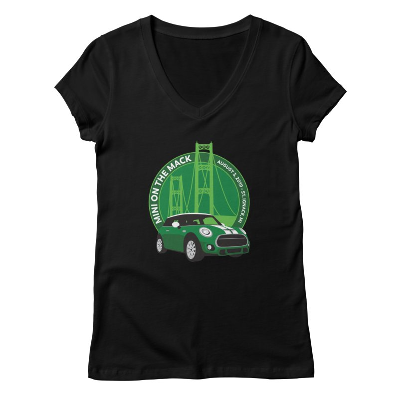 MINI on the Mack 2019 Women's Regular V-Neck by TwistyMini Motoring Shirts