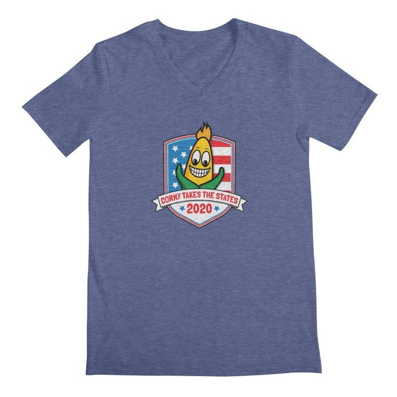 Corny Takes the States 2020 - Badge Men's Regular V-Neck by TwistyMini Motoring Shirts