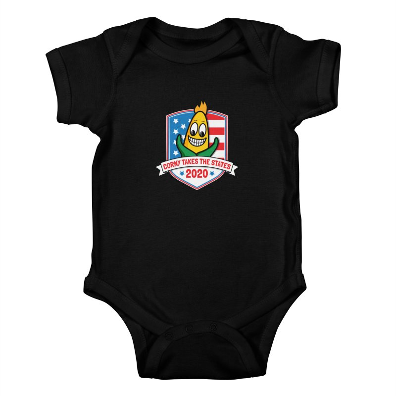 Corny Takes the States 2020 - Badge Kids Baby Bodysuit by TwistyMini Motoring Shirts
